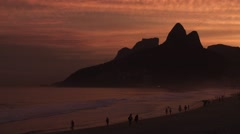 Sunset at Ipanema  beach Stock Footage