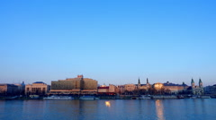 Panoramic view of Budapest at dusk Stock Footage