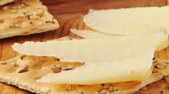 Stock Video Footage of Cheese and crackers