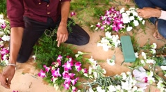Man working Decorate Flowers Stock Footage