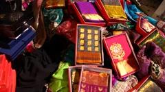 Colorful saris Stock Footage