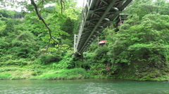 Below Small Bridge Over The Tama River In Forest Stock Footage