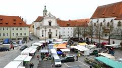 Street market in Regensburg, Germany Stock Footage