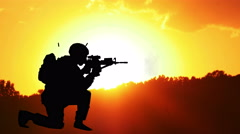 3673 Military Man Firing M16 During Sunset Animation, 4K Stock Footage