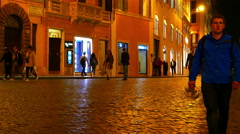 The Spanish Steps at night Stock Footage