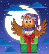Stock Illustration of Owl with gift theme image - eps10 vector illustration.