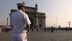 Indian navy band holds performance at Gateway of India in Mumbai Stock Footage