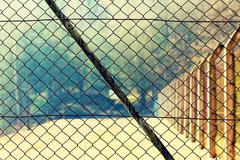 Mesh netting Rabitz on the fence - stock photo