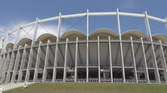 Biggest football stadium soccer sport arena, huge construction seen in sunny day Stock Footage