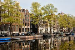 Amsterdam Houses by the Singel Canal Stock Photos