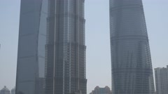 4k pan shot of Shanghai three tallest buildings - stock footage
