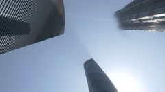 panorama of Shanghai three tallest buildings - stock footage
