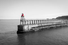 Whitby Pier, North Yorkshire, UK - stock photo