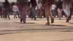 Pedestrians crossing the road at the traffic lights Stock Footage