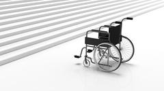 Black disability wheelchair near white stairs - stock illustration