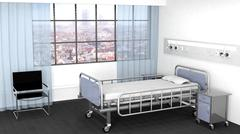 Bed, bedside table and chair in hospital room with window Piirros