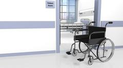 Black disability wheelchair in front of patient room in hospital - stock illustration