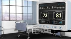 Patient monitor device closeup in hospital room with depth of field Stock Illustration