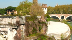The Island of St. Bartholomew in Rome Stock Footage