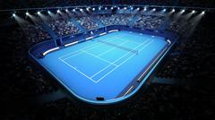 blue tennis court and stadium full of spectators from upper view - stock illustration