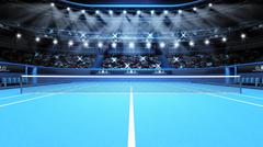 Blue tennis court view and stadium full of spectators with spotlights Stock Illustration
