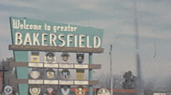 Bakersfield, USA 1950s: view from a driver arriving to town Stock Footage