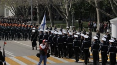SEVASTOPOL,CRIMEA/RUSSIA: Different kinds of troops marching on parade Stock Footage