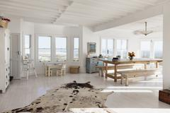 Animal skin rug in sunny dining room Stock Photos