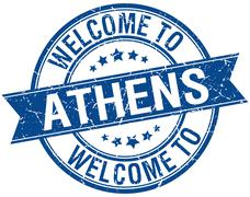 welcome to Athens blue round ribbon stamp - stock illustration