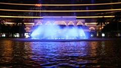 Wynn Macau casino fountains set to light and music, Macao Stock Footage