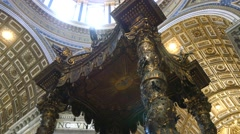 St. Peter's  basilica cathedral wood altar Bernini's baldacchino 4k Stock Footage