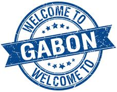 Stock Illustration of welcome to Gabon blue round ribbon stamp