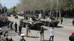 SEVASTOPOL,CRIMEA/RUSSIA: Armored transporters on rehearsal of parade Stock Footage