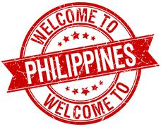 Stock Illustration of welcome to Philippines red round ribbon stamp