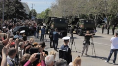 SEVASTOPOL,CRIMEA/RUSSIA:  Multiple artillery Rocket Launcher on parade Stock Footage