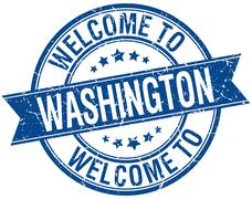 welcome to Washington blue round ribbon stamp - stock illustration