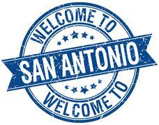 welcome to San Antonio blue round ribbon stamp - stock illustration