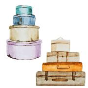 Nice watercolor baggage - stock illustration