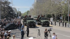 SEVASTOPOL,CRIMEA/RUSSIA: Air defense system of new generation on parade Stock Footage