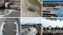 Sewage water treatment plant. Blue stopcock valve. Clip collage Stock Footage