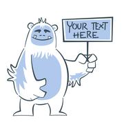 Yeti holding sign Stock Illustration