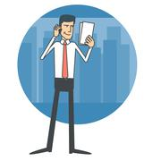 Businessman talking on the phone and reading documents - stock illustration