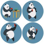 Social networks addicted Panda Stock Illustration