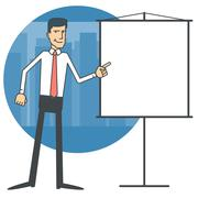 Businessman pointing at a blank chart Stock Illustration