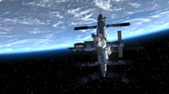 Space Station And Space Shuttle Orbiting Earth Stock Footage