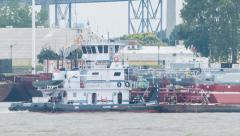 Stock Video Footage of Mississippi River Boat Hauling Operations