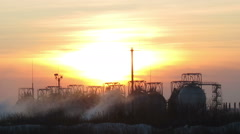 Gas-holders. Timelapse Stock Footage