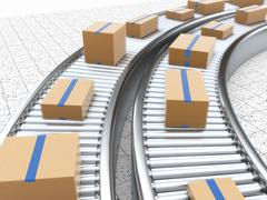 3d rendering of Cardboard boxes on a conveyor belt Stock Illustration