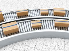3d rendering of Cardboard boxes on a conveyor belt Stock Illustration