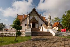 Front of wat Phu Mintr temple at Nan province, Thailand Stock Photos